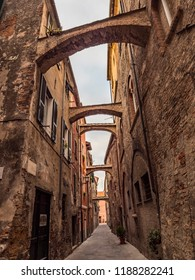 Albenga, Liguria, Italy - September 20 2018: Albenga and its ancient medieval center with towers and old buildings