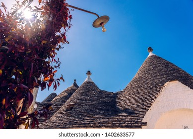 Alberobello, Italy - March 9, 2019: Beautiful single-storey houses of rounded construction called trulli, typical of the area of Alberobello in Italy.