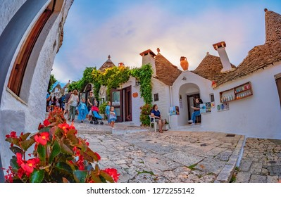 Alberobello, Lecce, Italy - August 16. 2018: Traditional Trulli houses in Alberobello village in summer holiday