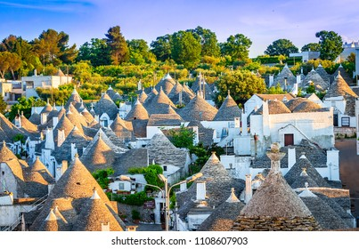 Alberobello, Puglia, Italy: Cityscape over the traditional roofs of the Trulli, original and old houses of this region, Apulia