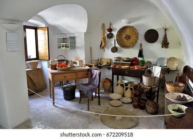 ALBEROBELLO PUGLIA ITALY MAY 1: View inside the trullo sovrano (museum),  - May 1 2017 Alberobello Puglia Italy