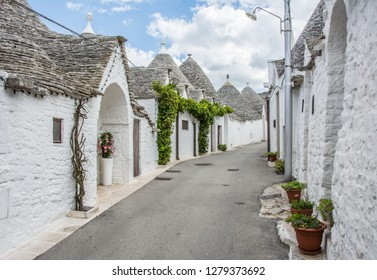 Alberobello is a small town in Puglia in southern Italy, famous for its trulli: white, cone-roofed houses.