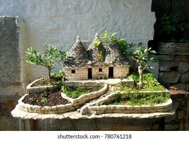 Alberobello town Italy bonsai miniature garden decoration