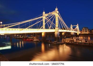 Albert bridge in Central London at night