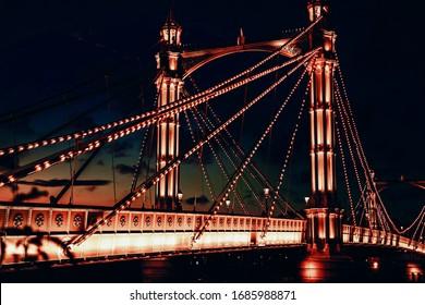 Albert bridge full of lights in central London.
