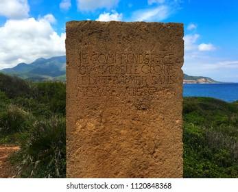 Albert Camus Stele at archaeological Roman site of Tipaza, Algeria.