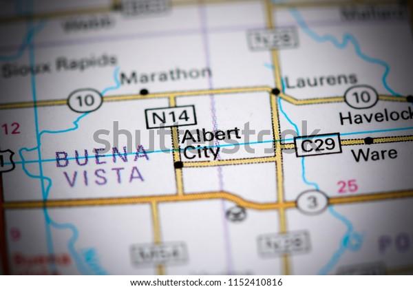 Albert City. Iowa. USA on a map