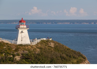 ALBERT COUNTY, NB, CANADA - AUGUST 04, 2017: View of Cape Enrage lighthouse. Cape Enrage lighthouse is one of the oldest on New Brunswick's Fundy coastline.