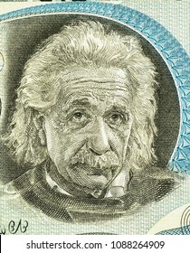 Albert Einstein (1879-1955) on 5 Pounds 1968 Banknote from Israel. German born theoretical physicist regarded as the father of modern physics. famous scientist of relativity  Close Up UNC