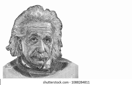 Albert Einstein (1879-1955) on 5 Pounds 1968 Banknote from Israel. German born theoretical physicist regarded as the father of modern physics. famous scientist of relativity Close Up UNC Uncirculated