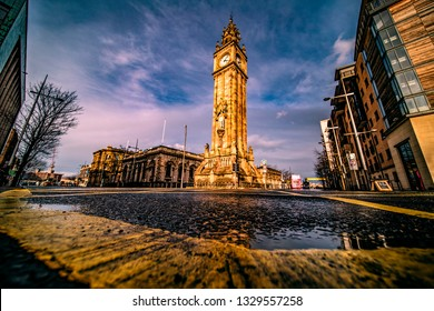 Albert Memorial Clock Belfast/ Northern Ireland 03/04/2019 a clock tower situated at Queen's Square in Belfast. It was completed in 1869 and is one of the best known landmarks of Belfast.
