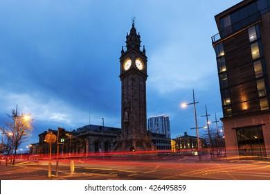 Albert Memorial Clock in Belfast. Belfast, Northern Ireland, United Kingdom.