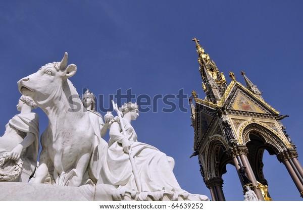 Albert Memorial, London with statue