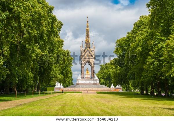 The Albert Memorial situated in Kensington Gardens, London, England