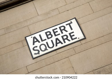Albert Square Street Sign, Manchester, England, UK
