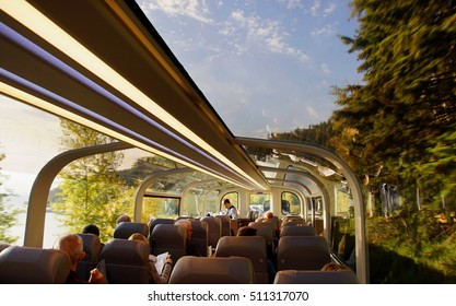 ALBERTA , CANADA - 26 / 09 / 2016 ; The famous rocky mountaineer  train  has two famous tours ; First Passage to the West:  Banff to Vancouver, and Journey through the Clouds:  Jasper to Vancouver .