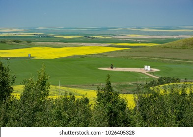 Alberta, Canada.  Looking northeast from the Wintering Hills toward the Red Deer River valley in the distance near Drumheller.