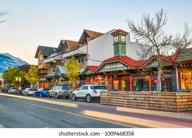 ALBERTA, CANADA - SEP 30, 2017 :The streets of Canmore in canadian Rocky Mountains. Canmore is located in the Bow Valley near Banff National park and one of the most famous town in Canada