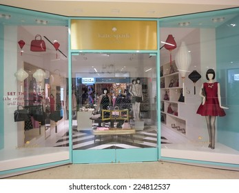 ALBERTA, CANADA - SEPTEMBER 20, 2014: Detail of the Kate Spade store in Alberta. Kate Spade is an American fashion design house founded at 1993.