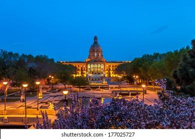 The Alberta Legislature Building in Edmonton, Alberta Canada at night.