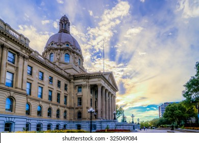 Alberta Legislature Building vie from the east side in evening hours