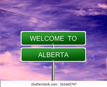 Alberta welcome Canada province vacation landscape sign travel.