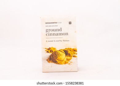 Alberton, South Africa - November 11, 2019: a packet of Woolworths Food non-irradiated ground cinnamon isolated on a clear background image with copy space in horizontal format