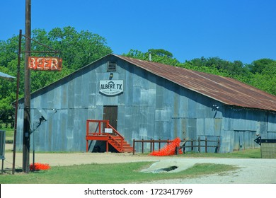 Albert's Dancehall and Icehouse are popularhistoric backroad destinations for motorcycle enthusiasts, Albert, Texas, USA - May 2, 2020