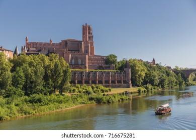 Albi city river landscape. France