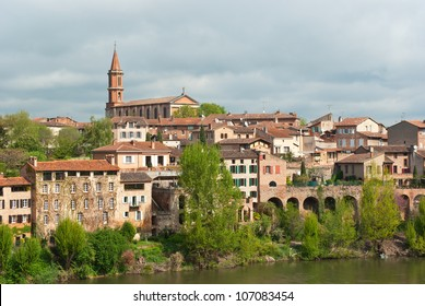 Albi cityscape - St-Madeleine church and river Tarn, France