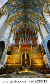 ALBI, FRANCE -14 MAY 2017- View of the interior of the Albi Cathedral Basilica of Saint Cecilia (basilique cathedrale sainte-Cecile d'Albi), a UNESCO World Heritage Site.