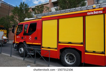 Albi, France - July 14, 2019 - A fire tender truck from the fire brigade of Department of Tarn, on Bastille Day military parade
