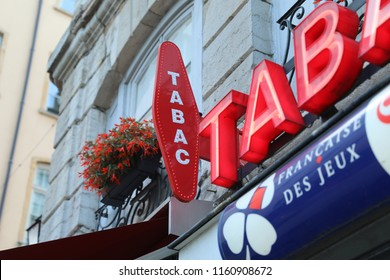 "Albi, France - July 24, 2018: French Red And White Tabac Sign With Loto Logo Above Tabacconist Store, In France ""Tabac"" Means Tobacco"