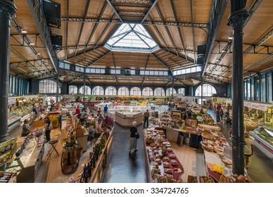 ALBI, FRANCE - JUNE 06 2015: Covered food market in Albi, Tarn region, Midi Pyrenees, France