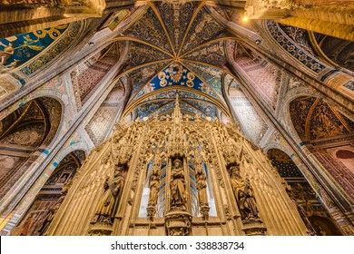 ALBI, FRANCE - JUNE 06 2015: Cathedral Basilica of Saint Cecilia, claimed to be the largest brick building in the world, itâ??s located in Albi, Tarn region, Midi Pyrenees, France