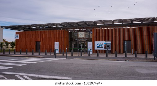 Albi, France - Oct. 2019 - Building of a bank branch of French bank Crédit Agricole, in François Verdier Avenue