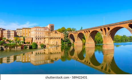 Albi in Southwestern France. Albi is a world heritage UNESCO site. View of the Tarn River and the Cathedral Saint Cecile, France
