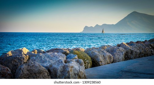ALBIR, SPAIN - FEBRUARY 9, 2019: Beautiful  sailboat in the sea