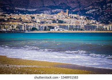 ALBIR, SPAIN - MARCH 25, 2019: Beautiful beach of Albir