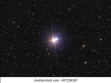 Albireo (double star) in Cygnus constellation with many stars as background taken with large newtonian telescope.