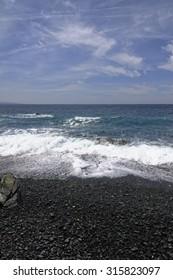 Albo with a black gravel beach, Cap Corse, west coast, Corsica, France