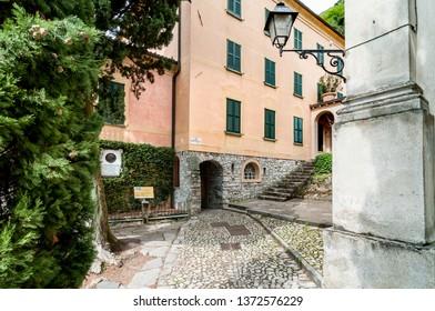 Albogasio-Oria, Valsolda, Italy - April 15, 2016: Villa Fogazzaro Roi, the ancient summer residence of the writer Antonio Fogazzaro, is located in ancient village Albogasio - Oria of municipality Vals