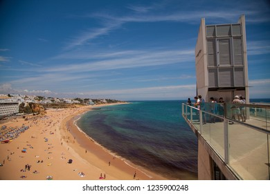 Albufeira, Algarve / Portugal - 06/07/2018: Viewpoint at Albufeira Beach