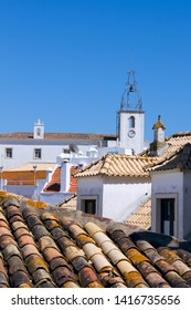 Albufeira, Algarve, Portugal - Apr 24th, 2013 - Church and Portuguese roof.