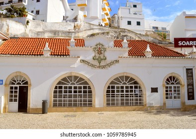 Albufeira, Algarve, Portugal - March 11, 2018 : Art gallery in the old Electrical Power Station in Albufeira Old Town