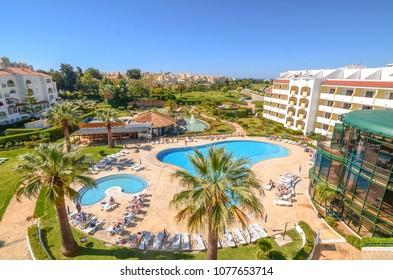 Albufeira, Algarve/Portugal - 7th April 2017: A view at Ondamar Hotel area in Albufeira