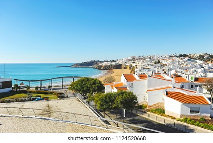 Albufeira beach bathed by the Atlantic Ocean is one of the most visited by European tourists, Algarve beaches, south of Portugal.