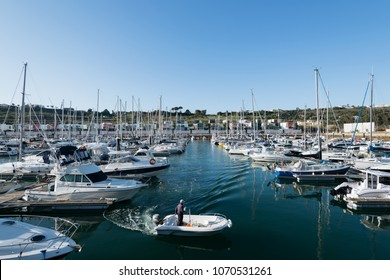 Albufeira, Portugal - April 14: luxury Yachts and motorboats at the Albufeira Marina, Albufeira, Algarve, Portugal