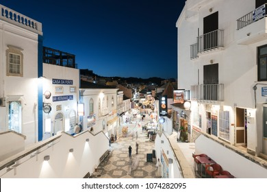 Albufeira, Portugal - April 14: Night view of a street in the old town in Albufeira, Algarve, Portugal.