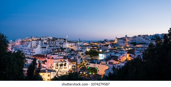 Albufeira, Portugal - April 16: Night, panoramic view of the Old Town of Albufeira City in Algarve, Portugal.